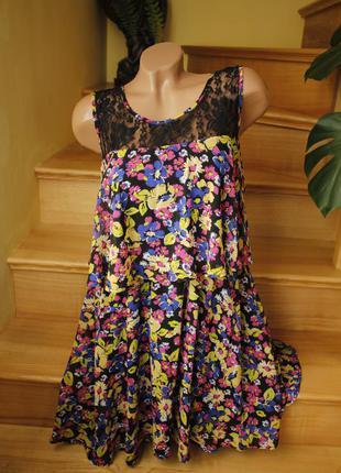 Платье сарафан цветы атмосфера миди
