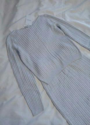 Вязаный костюм свитер косичка юбка миди