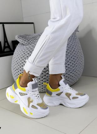 Кроссовки кожаные белые, кроссовки на массивной подошве, молодежные кроссовки новинка 2021