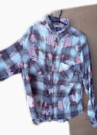 Рубашка пальто теплая рубашка винтажная рубашка / рубашка/ black jack в клетку