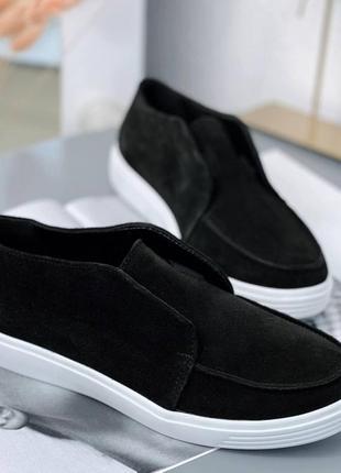 Лоферы замшевые, туфли замшевые