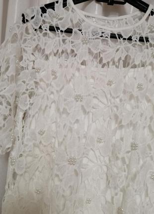 Блуза сетка стрейч с жемчуженами2 фото