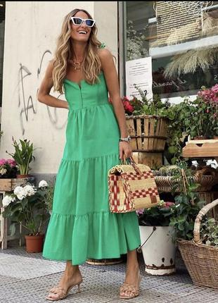 Zara платье на бретелях миди , м