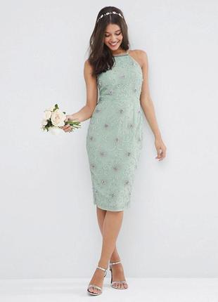 Платье миди asos на бретелях с пайетками