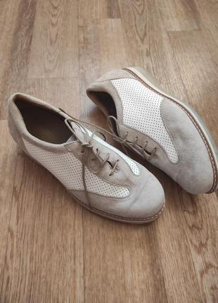Кожаные мокасины туфли на шнуровке из натуральной замши с перфорацией