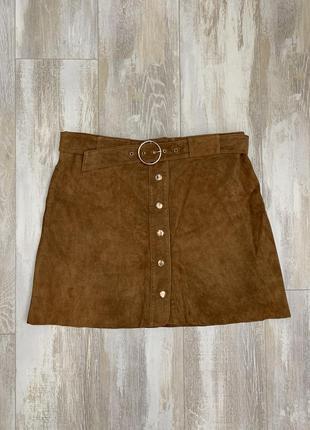 Замшевая юбка мини с высокой талией бренда zara, размер m-l.