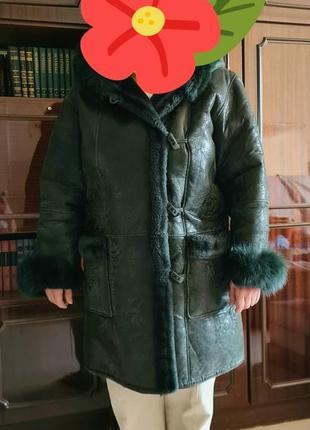 Кожаная тёплая темно-зелёная женская дублёнка
