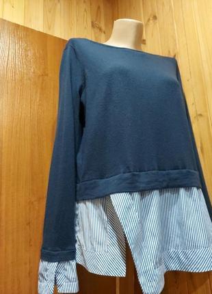 Люксовый  шерстяной свитер и имитацией рубашки