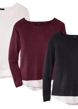 Красивый женский пуловер с вставкой евро 44-46