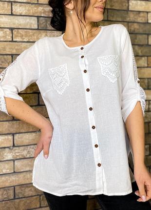 Рубашка коттон кружевные карманы 48-60 р-р