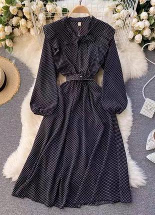 Миди платье сарафан в горох с объемными рукавами поясом и рюшами