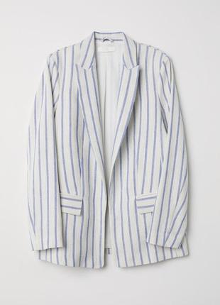 Классный пиджак h&m в полоску вискоза лен хлопок, размер xs-s.