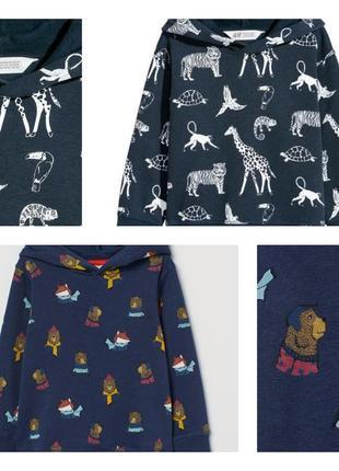 Утеплённые базовые худи/толстовки/свитшоты с капюшоном в принт лесные зверушки/сафари h&m.