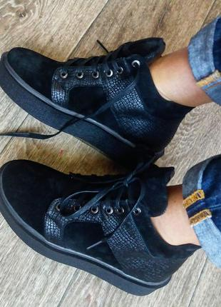 Крутые ботинки натуральная замша и кожа