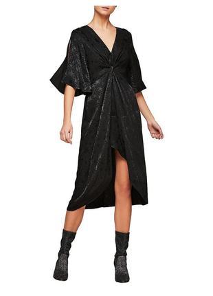 Новое шикарное сатиновое жаккардовое платье миди с разрезом