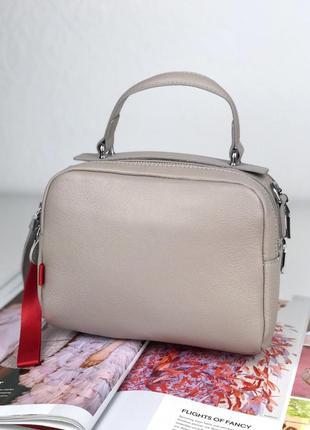 Женская пудровая кожаная сумка polina & eiterou
