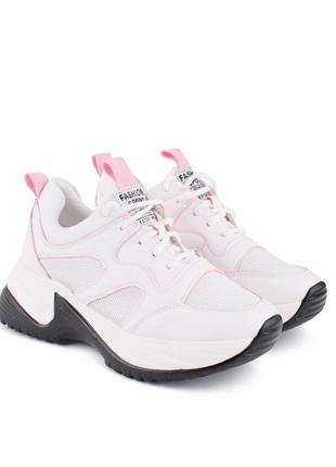 Кроссовки кроссы кросівки светло розовые рожеві на грубой большой подошве платформе
