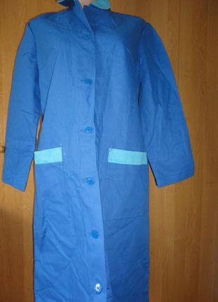Халат для работы с застежкой на пуговицах и с длинным рукавом