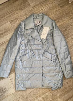 Демисезонная удлиненная куртка пальто oversize из эко кожи