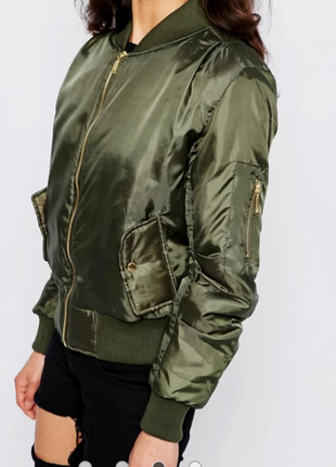Сатиновый утепленный бомбер, атласная  утепленная куртка бомбер