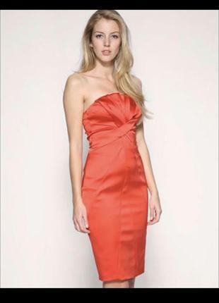 Karen millen красное платье бандо бюстье яркое праздничное атлас под шёлк