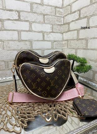 Новая сумка сердце 3в1 на розовом широком ремешке