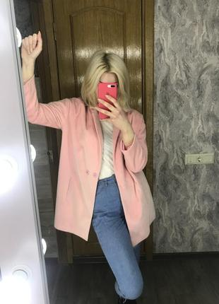 Розовое пальто жакет на весну oversize boyfriend оверсайз бойфренд