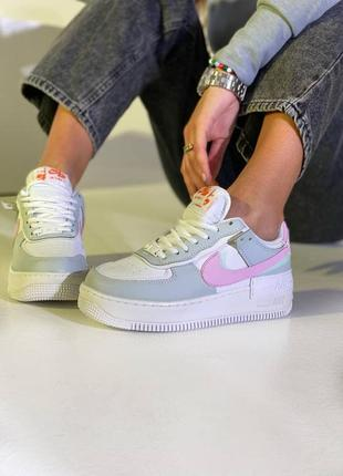 Женские кроссовки nike air force 1 shadow grey/pink
