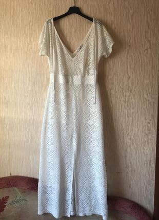 Шикарное пляжное платье сетка, белая накидка, туника парео