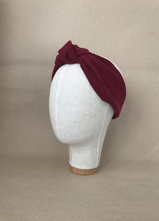 Вельветовая повязка на голову/для волос с узелком в вишнёвом цвете