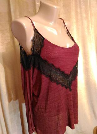 Блузка pins&needles в бельевом стиле длинный рукав, марсала вискоза р. s m l xl