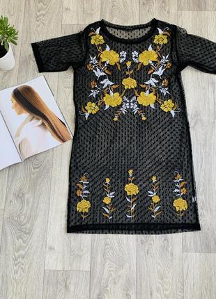 Прозрачное платье с вышитыми цветами river island