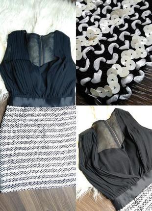 Шикарное вечернее мини платье в паетку - эластичное