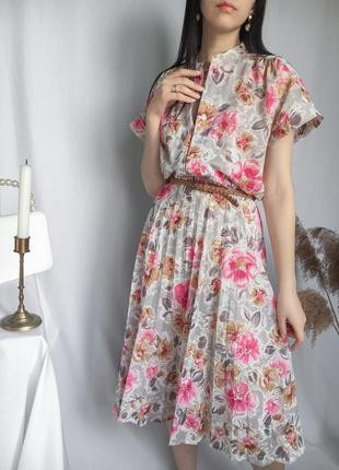 Винтажное платье миди в цветочный принт ретро с поясом плиссированная юбка