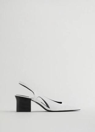 Кожаные туфли на каблуке от zara