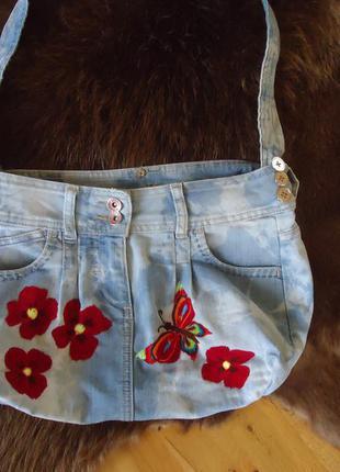 Сумка джинсовая ,вышивка ,ручная работа