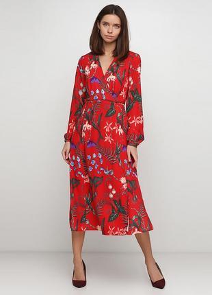 Стильное красное платье миди h&m на запах, в цветочный принт