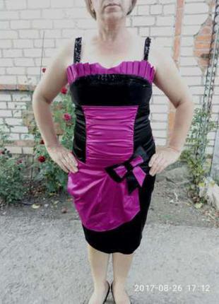 Атласное платье с пайетками + болеро в подарок