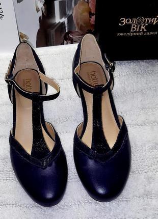 Темно синие туфли на невысоком каблуке из натуральной кожи стелька 25 см