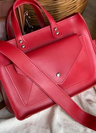 Женская сумка кросс боди кожзам с длинным широким ремешком красная