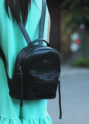 Черный мини рюкзак кожаный harvest xs