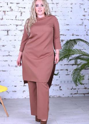 Супер стильный нарядный брючный костюм с удлиненной блузой-туникой батал новинка