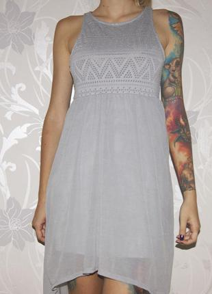 Платье серо-голубое