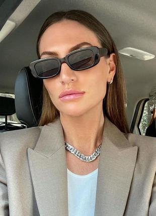 Тренд 2021 черные узкие прямоугольные очки имиджевые солнцезащитные ретро окуляри чорні
