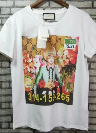 Женская брендовая футболка италия, gucci