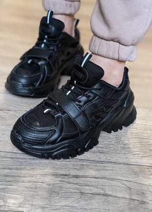 Удобнейшие! женские черные кроссовки на платформе