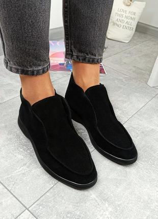 Женские чёрные замшевые туфли лоферы,демисезонные замшевые туфли на низком ходу