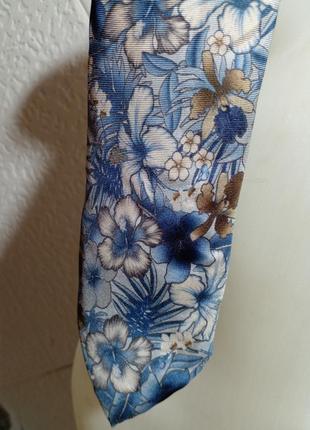 Галстук шелк тропические цветы голубой