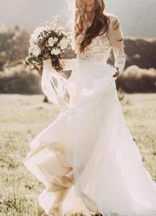 Свадебное платье в стиле бохо с длинным рукавом кружевом закрытое cb-9056