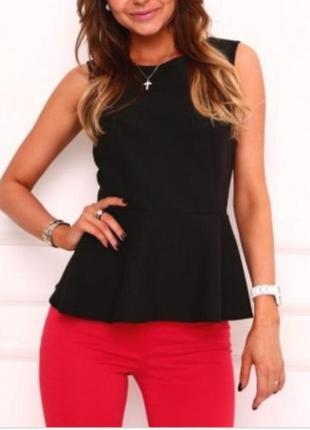 Чёрная женская блузка с баской freny collection